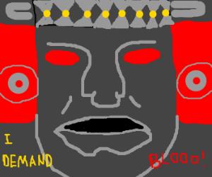 Olmec demands gameshow guest sacrifices!