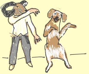 sheephead guy n dog dancing macarena