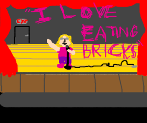 Ugly girl sings about eating bricks
