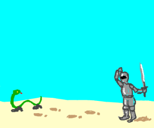 Knight confused by footprints by snake