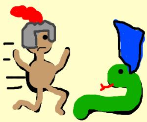 naked knight chasing snake/stole hs robe