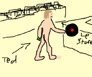 Naked man buying a record at the store.