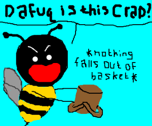 bee frustrated by empty picnic basket