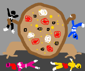 Giant Pizza destroys Power Rangers zzz