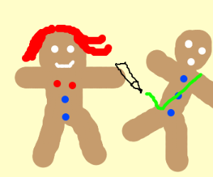 Gingerbread woman checks husband