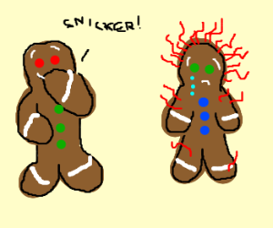 Two gingerbread men one with red hair