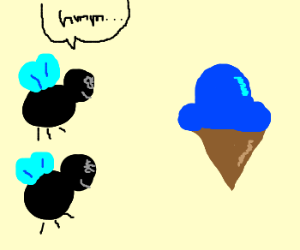 Flies contemplate ice cream cone.