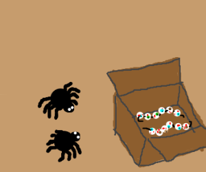 two spiders with eyes in strings in box