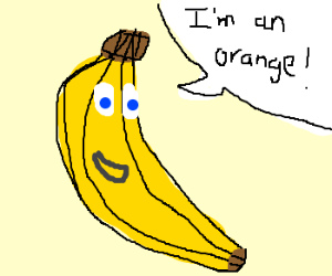 Very confusing bananna with text bubbles