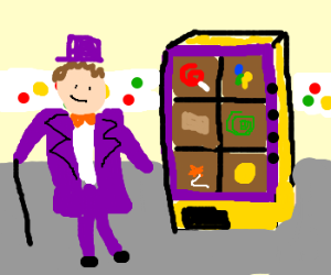Willy Wonka invents vending machine