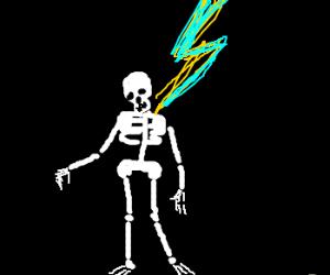 A skellyman gets struck by lightning