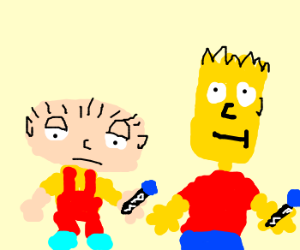 Stewie Griffin plays with Bart Simpson.