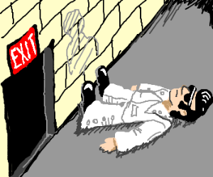 Elvis trys to leave building; hits wall.