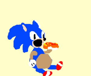 Fat Sonic the Hedgehog eating Chili Dogs