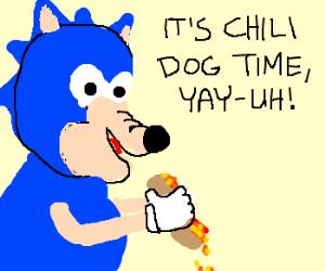 Sonic eats a chili dog