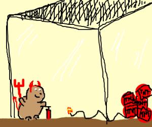 Devil hampster escapes cage.