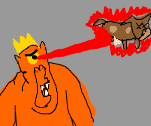 cyclops king shoots laser at brown cow
