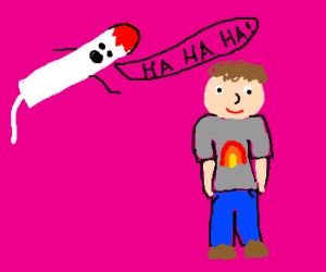 Flying tampon laughs at gay man