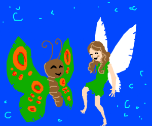 Butterfly and wood fairy are friends