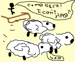Sheeps escape insominiac in panic