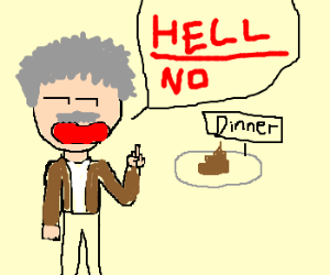 Einstein gives bad dinner the finger