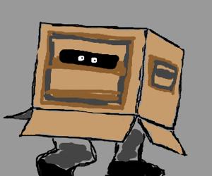 Cardboard box strategically placed below