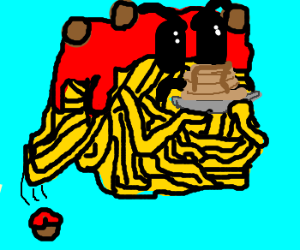 angry spagetti makes pancakes