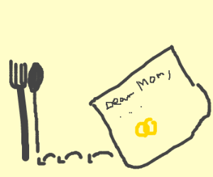 Fork elopes w/ spoon; leaves mom a note