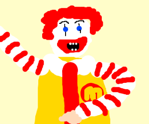 Ronald McDonald rocking outon air guitar