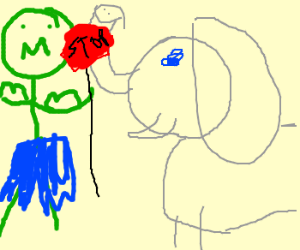 The Hulk stops an evil Elephant with gas