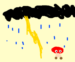 Lightning, Rain and a gumba like shroom