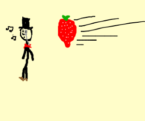 Rich guy about to get hit by strawberry