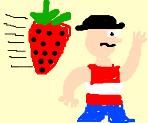 unsuspecting man hit by giant strawberry