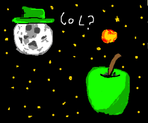 Hat-moon confused by space fruit