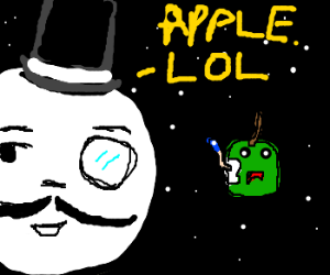 Moon with hat saying lol to apple