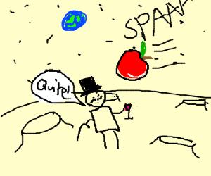 Moon sir amused by space apple
