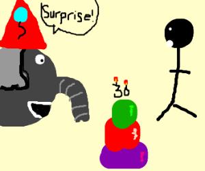 Elephant surprises man at 30th birthday