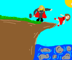 Pushed Off Cliff By Suicidal Micky Mouse Drawception