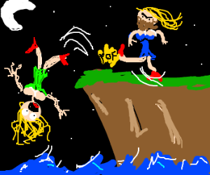 Bearded Lady Kicking Lady Off A Cliff Drawing By Hotze Drawception