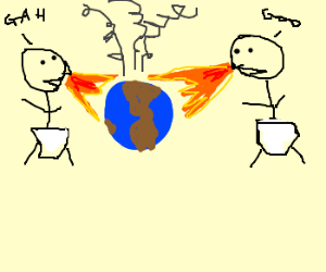 Two giant babies breathe fire on Earth