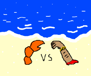 Lobster claw fighting a severed arm