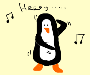 A penguin doing the Macarena
