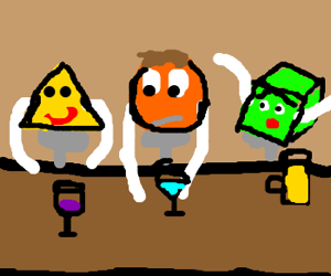 a triangular, circle and cube
