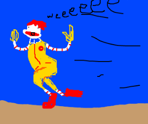 Ronald McDonald running like a fool
