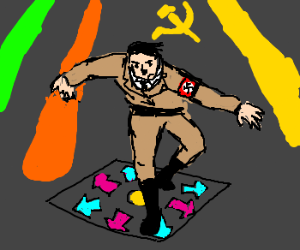 Hitler on dance mat at the soviet disco