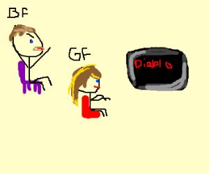guy (w/ girlfriend) tries to play Diablo