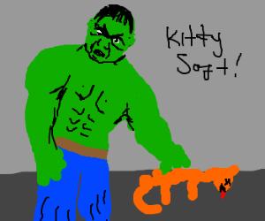 Hulk petting a kitty