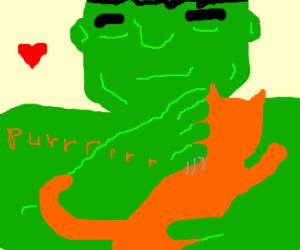 hulk strokes a cat