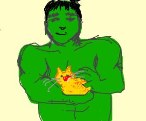 The hulk pets an orange kitty~