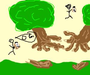 stick men test zero gravity trees